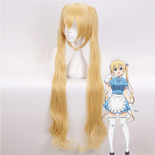 Blend S Hinata Kaho Costume Accessory Clip On Double Ponytails Long Blonde Heat Resistant Synthetic Hair