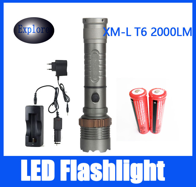 New 2000 lumens High Power 5 Modes  XM-L T6 LED Flashlight  torch suitable two 18650 batteries Telescopic Zoom lamp lantern high power torch 2000 lumens li batteries led flashlight torch light outdoor lighting