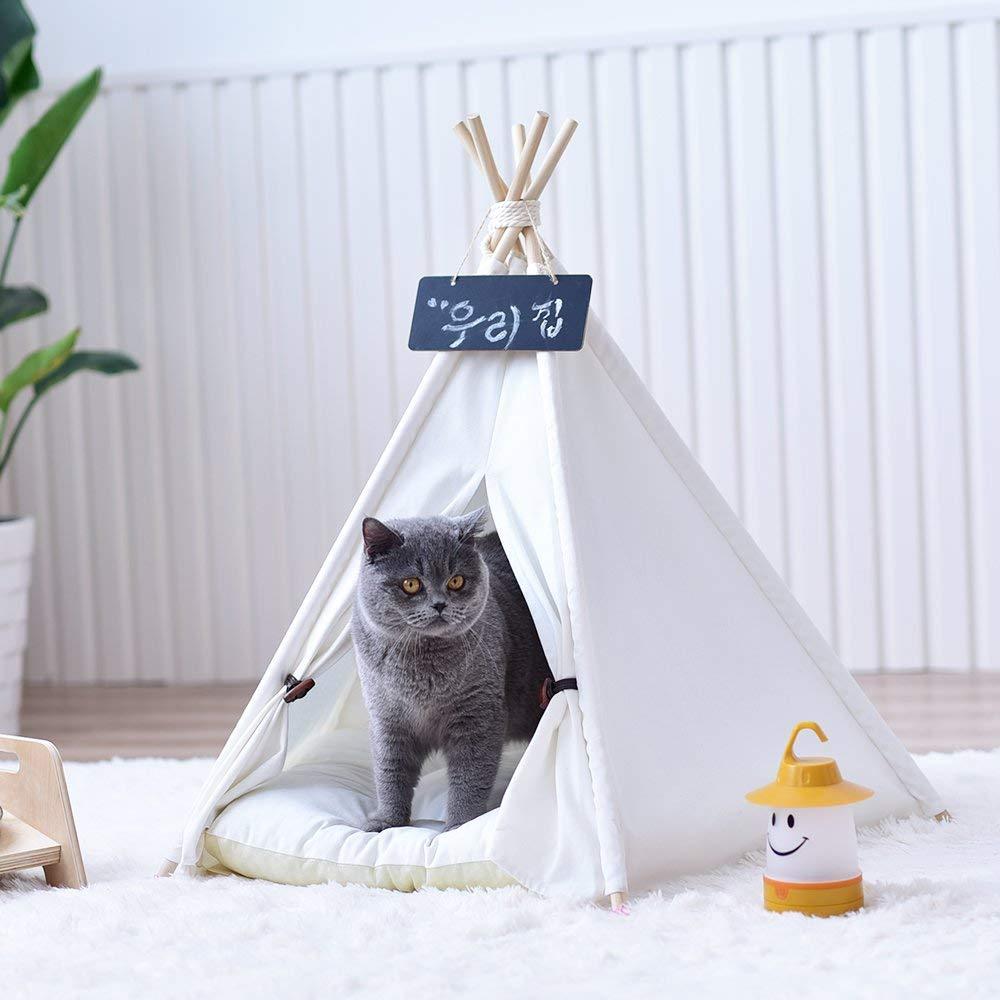 Plain White Canvas Dog Pet Cat Teepee Tipi Tent Without Cushion