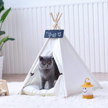 Plain White Canvas Dog Pet Cat Teepee Tipi Tent Without Cushion