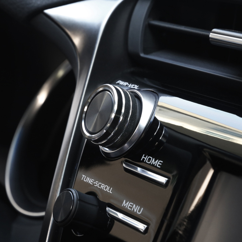 5pcs Preto Car Ar Condicionado + Áudio + Função Botão Círculo Guarnição Para Toyota Camry 2018 estilo de alta qualidade molduras