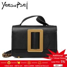 YeeSupSei Moda Con lentejuelas Decorado Flap Bag Real Leather Small Mujeres Bolsa de Hombro Cadena Messenger Bag Female Single Strap Bag