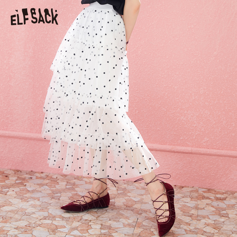 ELFSACK Fashion Dot Tulle Skirt Asymmetrical Women Long Skirt Japan Style Sweet Basis Femme Skirts 2019 New Summer Skirts