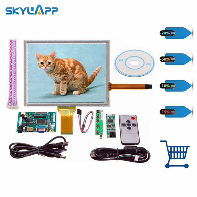 Skylarpu 8''inch Complete LCD display AT080TN52 HDMI/VGA/2AV Driver board touch panel kit for Raspberry Pi LCD screen display lq080v3de01 8 0 inch lcd panel