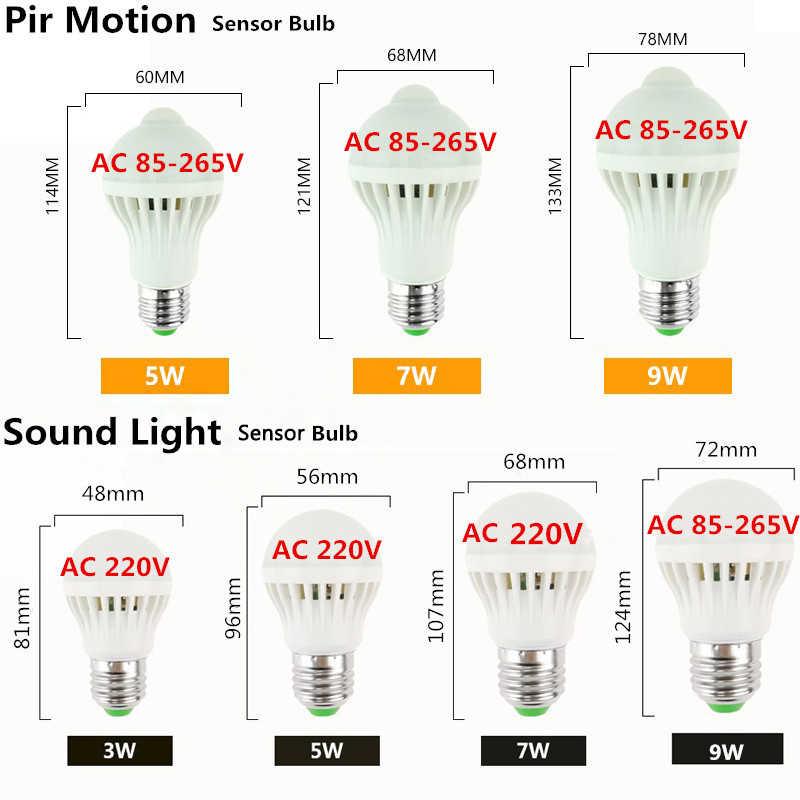 E27 PIR MOTION SENSOR LED Lampu Bohlam 3W 5W 7W 9W Suara Sensor Lampu LED Lampu AC 220V 230V Smart Pir Infrared Tubuh Cahaya Suara untuk Hom