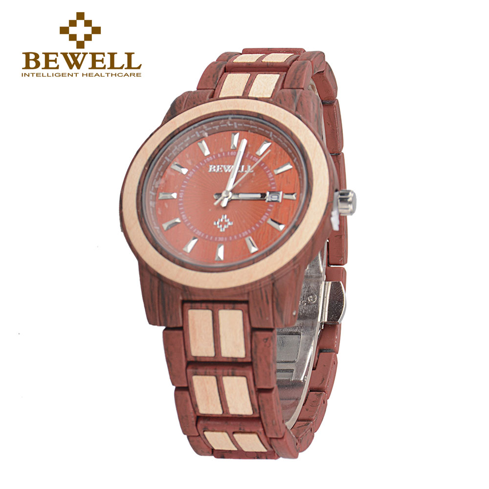 BEWELL W1053A  Unisex Alloy Wood Watch Men And Women Fashion  Luxury Round Quartz Wristwatch 3 Bar Water Risistance Auto Date bewell fashion luxury brand wooden watch for man round dial date display wristwatch and luminous pointers wood watch zs 109a