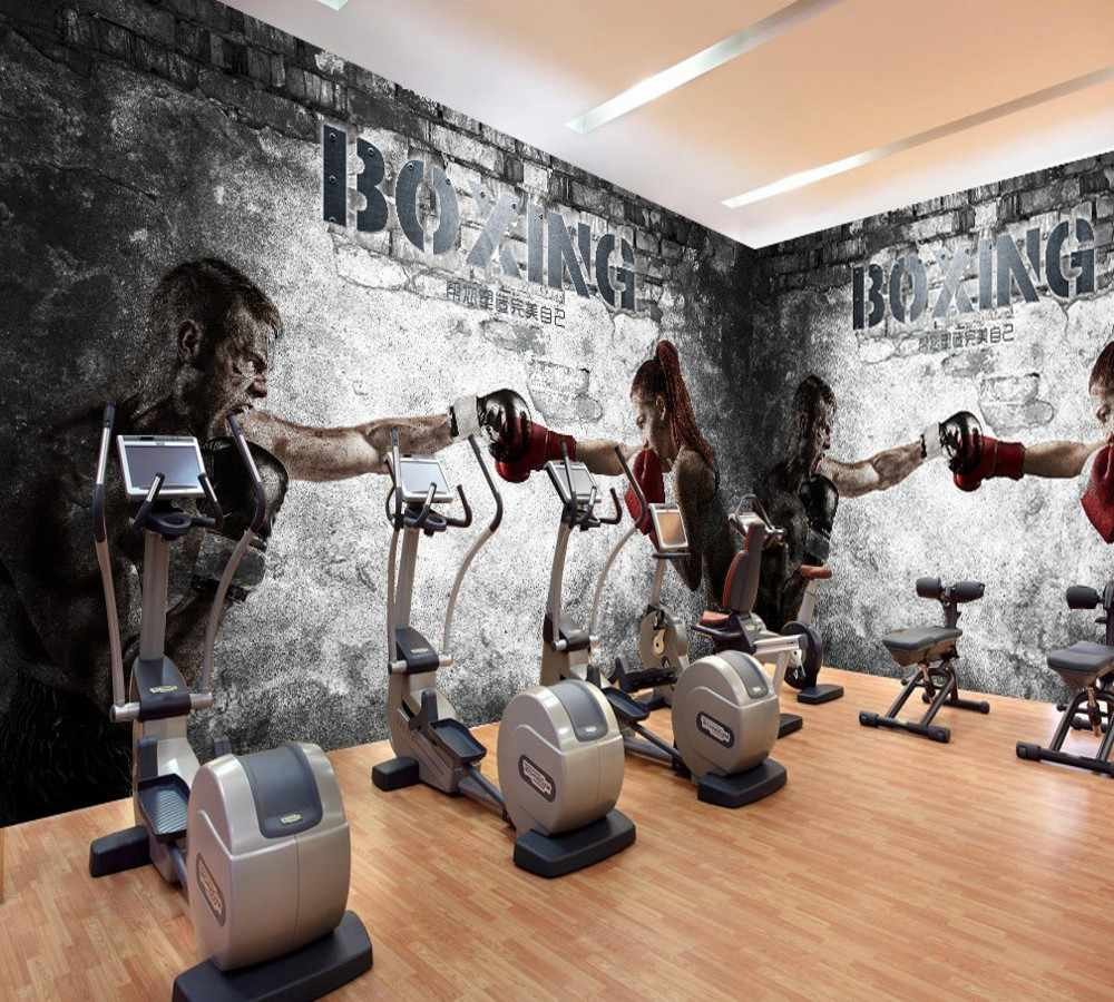 Free Shipping Nice Looking Gym Wallpaper Customized 3d Boxing Men And Women Gym Decoration Wall Cool Retro Cheap Gym Wallpaper Aliexpress