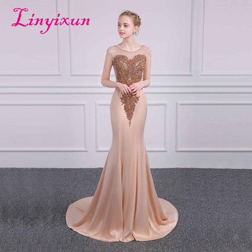 Linyixun Bling Bling Sexy Mermaid   Prom     Dresses   2018 With Glod Beaded Scoop vestidos de fiesta Long Formal Evening Gown