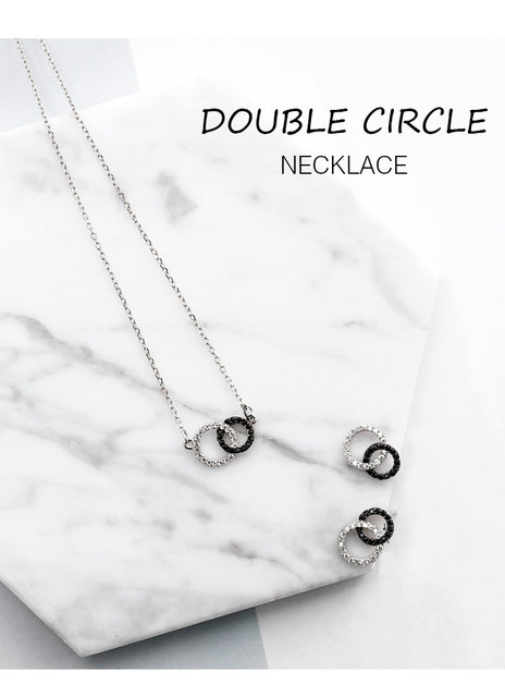 Online shop 925 sterling silver simple design double round pendant 925 sterling silver simple design double round pendant necklace for women casual style lady cubic zirconia diamonds jewelry mozeypictures Image collections