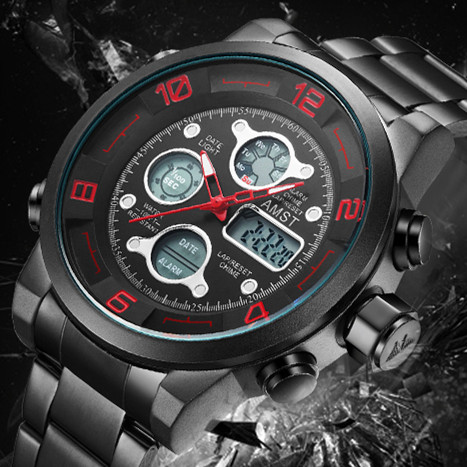 2018 AMST Brand Quartz Watch for men dual display LED digital sports watches stainless steel waterproof military clock 3020-3 weide new men quartz casual watch army military sports watch waterproof back light men watches alarm clock multiple time zone
