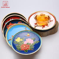 ZGJGZ Chinese Style Metal Coffee Tea Tools Household Drinkware Product Tin Teacup Mat Handmade Beauty Tinwork