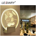 "LEDIARY New 3D Luminescence Effect LED Acrylic Wall Lamp ""Mickey Mouse"" for Bedroom/Aisle Corridor Decoration19*20.5*5cm"