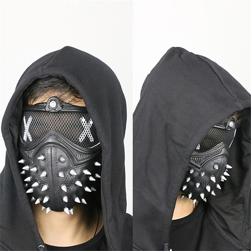 Hot Sale Watch Dogs 2 Cosplay Costume WD2 Punk Style Cosplay Prop Unisex Polypropylene Rivet Face Mask Party Cosplay Props