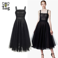 Tingfly Vintage Black Swan Lace Tulle Dresses Elegant Sexy Summer Tea Length High Street Lady Party Dress Strap Midi Vestidos
