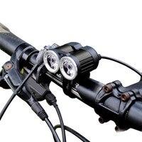 2000lm 2 x xm-l t6 farol para bicicleta  verdadeiro  usb  à prova d' água  nova chegada  2019  luzes para ciclismo