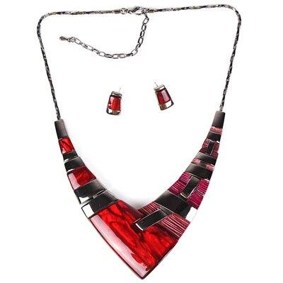 MS20101 Модный Ювелирный Набор, бронзовое покрытие, яркие цвета, высокое качество, женское ожерелье, серьги, набор, свадебные ювелирные изделия - Окраска металла: Red