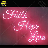 Faith Hope Love Neon Sign Handmade neon light adornment Decorate Home Bedroom Iconic Art Neon Lamp with Clear Board lamp Artwork
