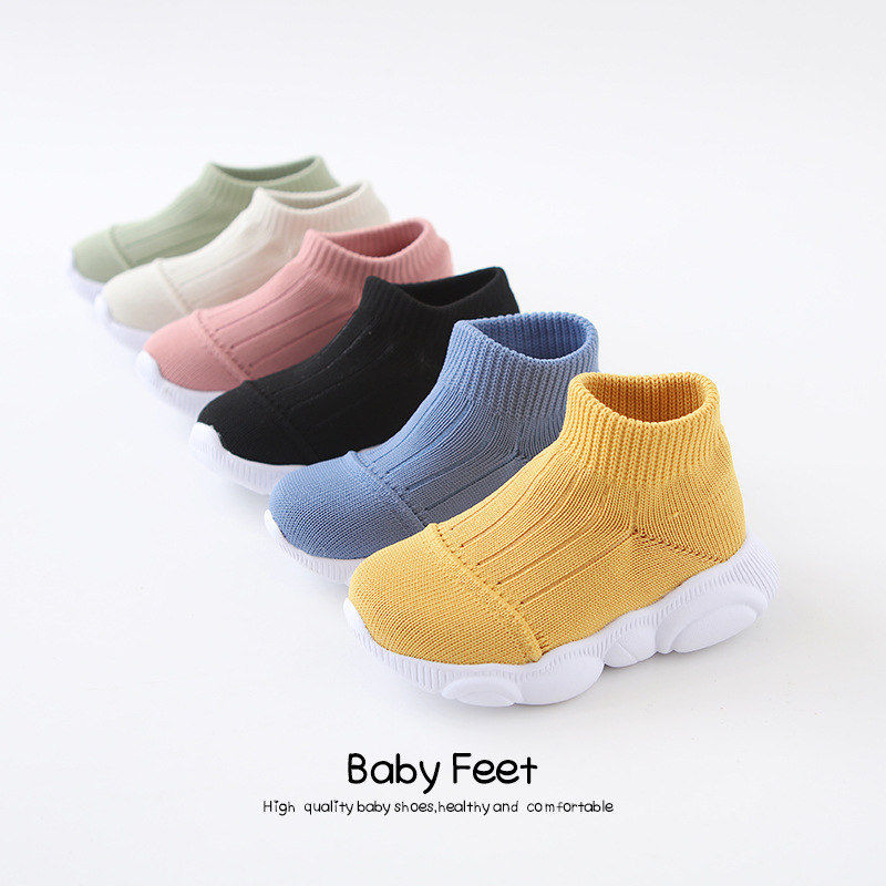 Children's Knitted Socks Shoes Baby Boys Breathable Mesh Sports Sneakers Toddler Girls Hollow Boots Kids Casual Footwear