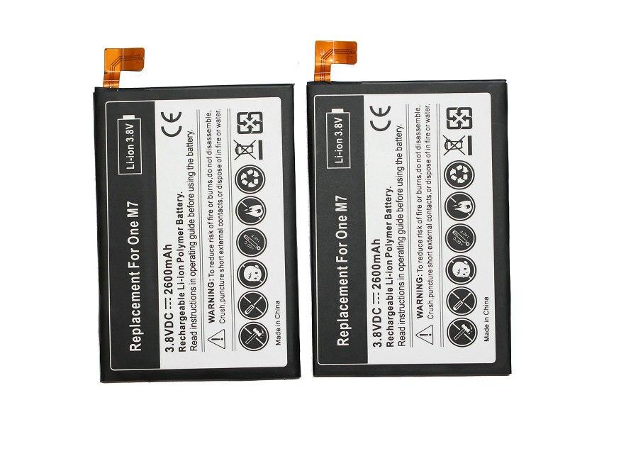 Seasonye 2pcs/lot 2600mAh BN07100 Replacement Li-Polymer Battery For HTC One M7 801E 801S 801N 802D 802W 802T HTL22 One J