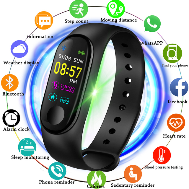M3 Bluetooth Smart Watch Color Screen Fitness Tracker Smart Bracelet Heart Rate Blood Pressure Monitor Sport Watch for Men Women