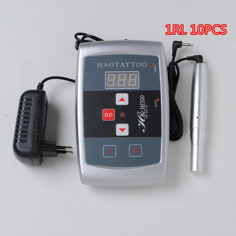 Tattoo Machine Kits Digital tattoo power supply Permanent Makeup Eyebrow&Lip Pen Free 10pcs 1RL kit