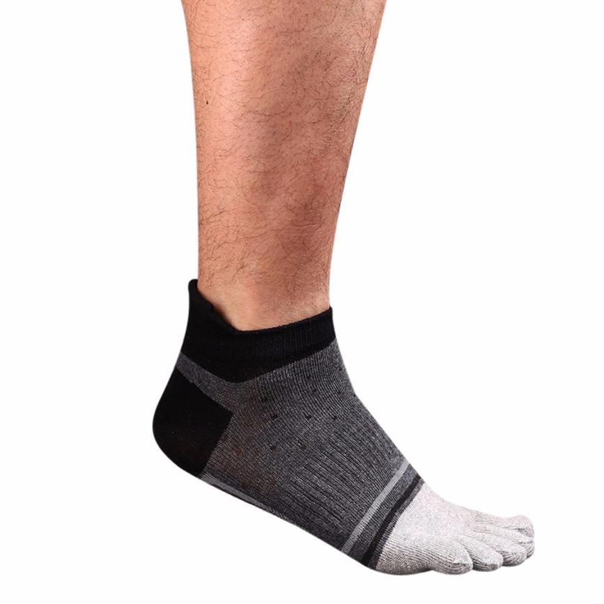 snowshine3 YLI Mens Five Toe Cotton Socks Pure Sports Trainer Running Finger Socks Breathable