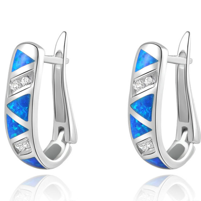 Blue Opal CZ Solid 925 Sterling Silver Hoop Earrings Classic Jewelry For Women Ship From US Free Shipping