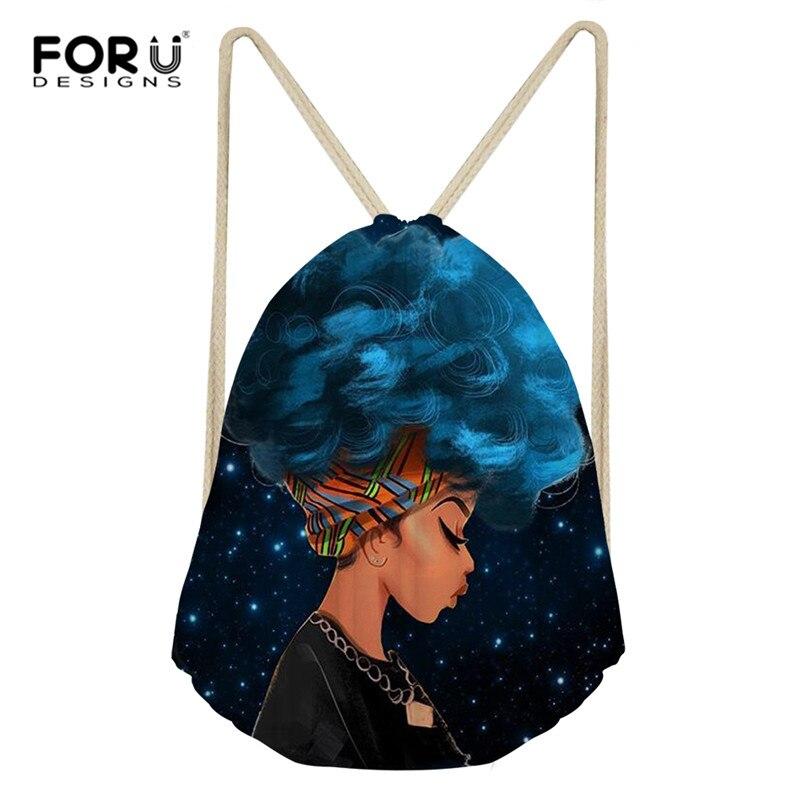 FORUDESIGNS Custom African Print Bag Women Small Drawstring Bag Girls Travel Storage Package Lightweight Drawstring Backpacks