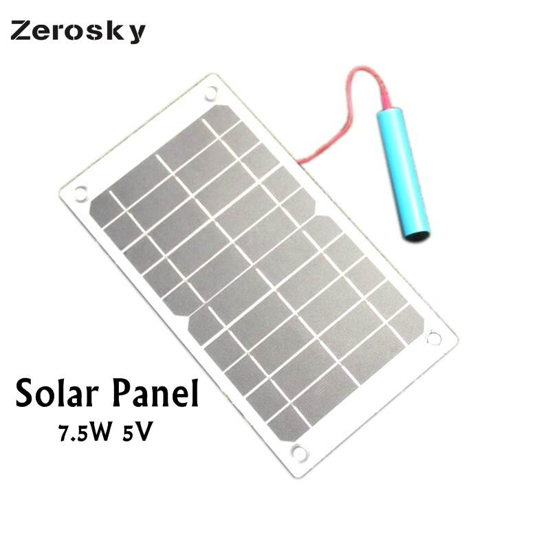 Zerosky 7.5W 5V Solar Panel Outdoor Portable Mobile Phone Battery Charger With USB Port Travelling Powerbank DIY Cell Charger