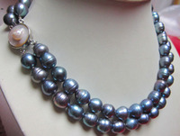 Prett Lovely Women's Wedding Wholesale free shipping 100% Natural jewelry >>2 STRANDS 10 13MM TAHITIAN BLACK BLUE BAROQUE PEARL