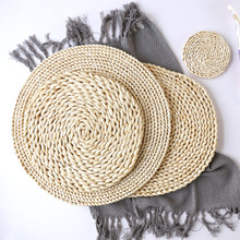 Corn fur woven Dining Table Mat Heat Insulation Pot Holder Round Coasters Coffee Drink Tea Cup Placemats Mug Coaster X