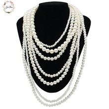 JIOFREE New Arrival fashion Long Faux Pearl Necklace pendant choker Necklace statement jewelry collar beads necklace & pendant