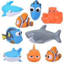 Милые животные Детские Игрушки для ванны для детей ПВХ поплавок сжимающий звук балуясь игрушки Дети клоун Рыба ванная комната щепотку спрей игрушка