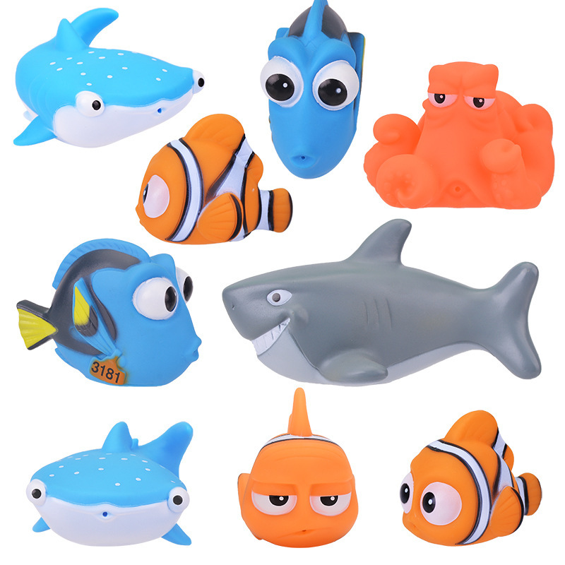 Cute Animal Baby Bath Toys For Children PVC Float Squeeze Sound Dabbling Toys Kids Clown Fish Bathroom Pinch Spray Toy
