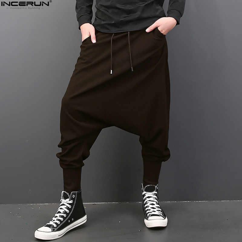 INCERUN gran caída entrepierna hombres hip-hop pantalones de harén de los hombres  pantalones de 92b57575315
