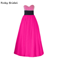 Ruby Bridal Vestidos De Fiesta Rose Red Tulle Beaded Prom Dresses Elegant Luxury A line Strapless Black Belt Party Gown LP023