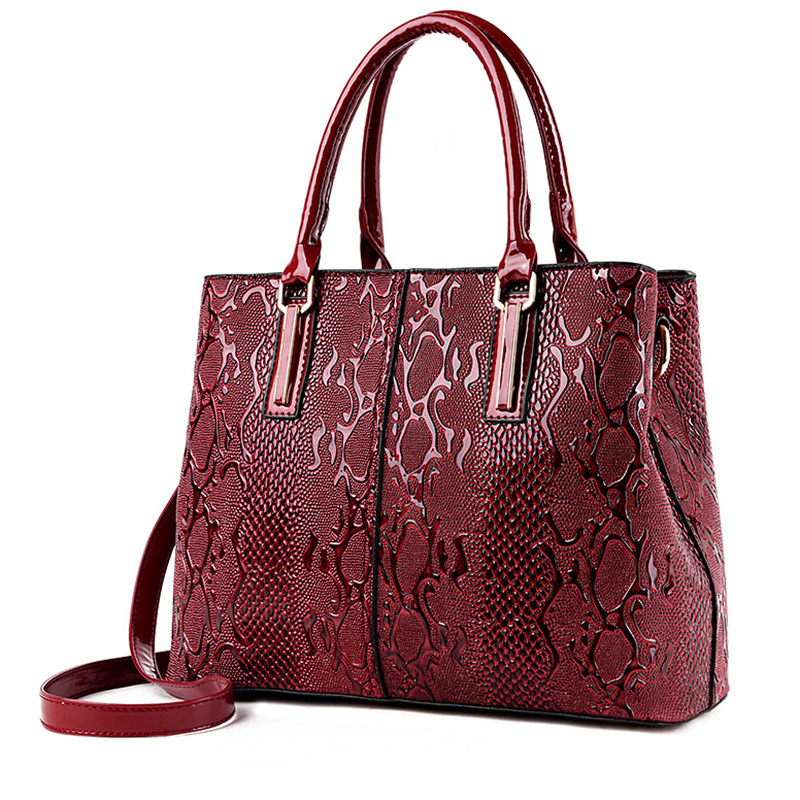 New Fashion PU Leather Women Bag Ladies Luxury Snake Shoulder Bags Designer Handbags High Quality 2018 Spring Ladies Tote Bag 1