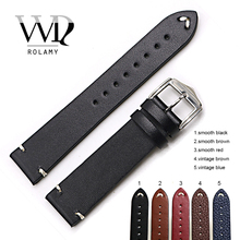 Rolamy 20 22 24mm Wholesale New Style Cowhide Smooth Vintage Leather Black Brown Blue Red Watch Band Strap Belt Polish Buckle