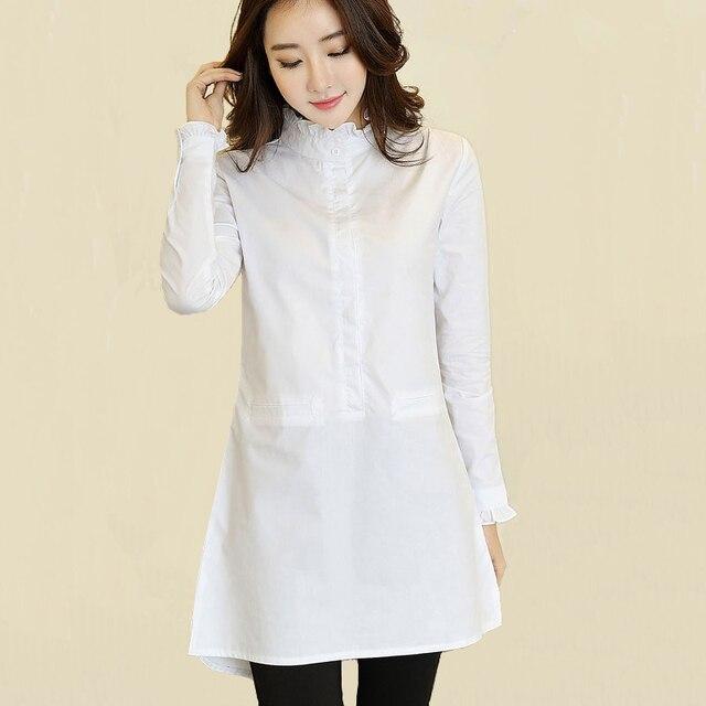 3b6e4983ea40 Vintage Weiße Rüschen Bluse Frauen Markendesign Süße Lange Rüschen  Stehkragen Baumwolle Tops Weibliche Mode Weiß Shirts