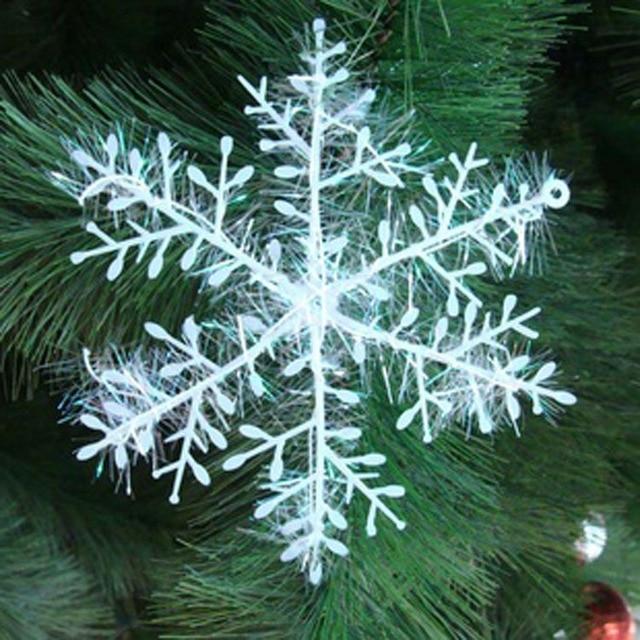 30pcs 11cm Xmas Christmas Tree Decorations White Snowflakes Plastic ...