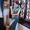 Charming Retro Women Satin Silk Long Cheongsam Chinese Traditional Cap Sleeve Wedding Evening Dress High-slit Qipao QP1