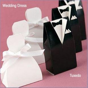 200pcs Lot 100 White Bride And Black Groom Wedding Favours Boxes Guest Gifts