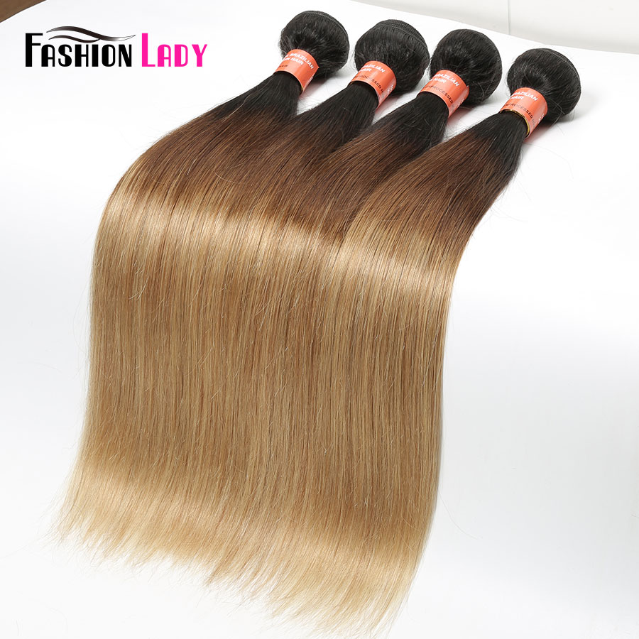 Image 2 - FASHION LADY Pre Colored Brazilian Hair Weave Bundles Ombre 1b/4/27 Straight Bundles Human Hair 1/3/4 Bundle Per Pack Non Remy-in Hair Weaves from Hair Extensions & Wigs