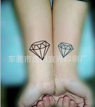 couple mignon temporaire autocollant de tatouage harajuku noir vert
