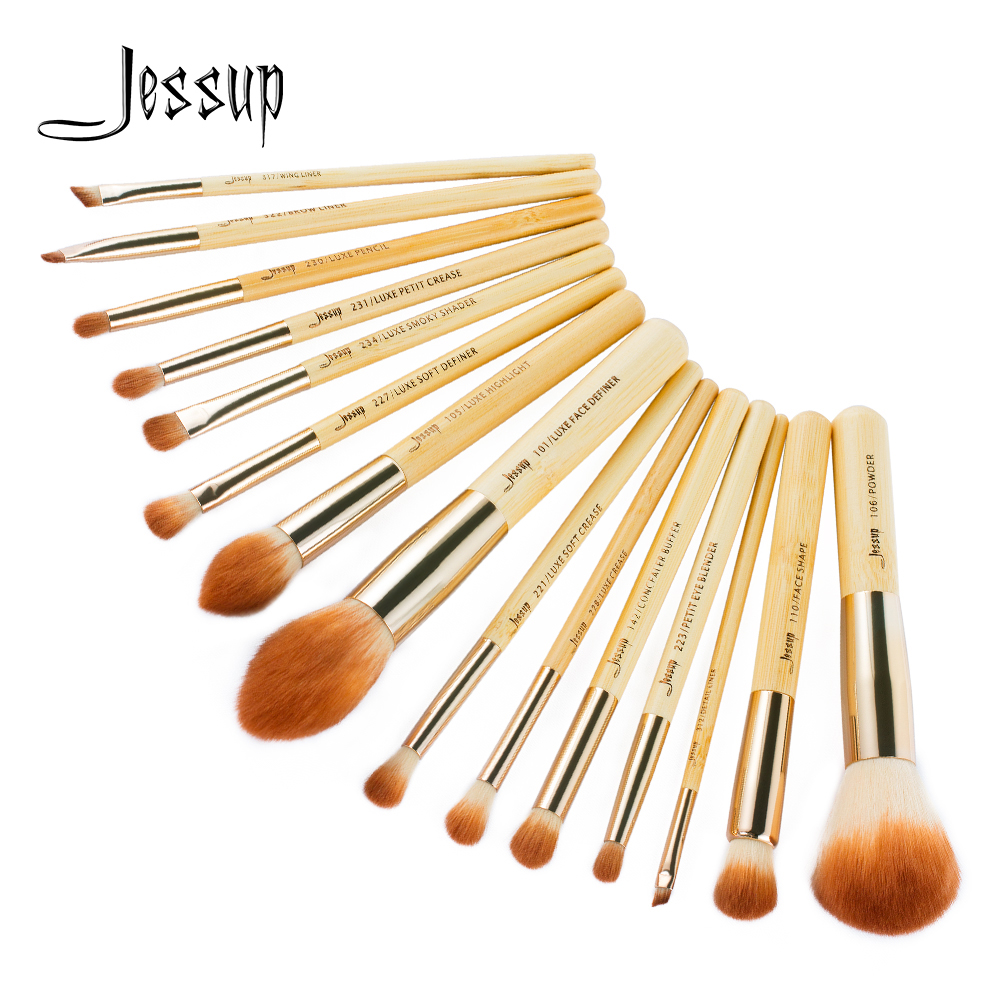 Jessup Brush 15pcs Bamboo Makeup Brushes Set Pincel Maquiagem Eyeshadow Brushes Makeup kit Foundation Powder Definer Pencil T142
