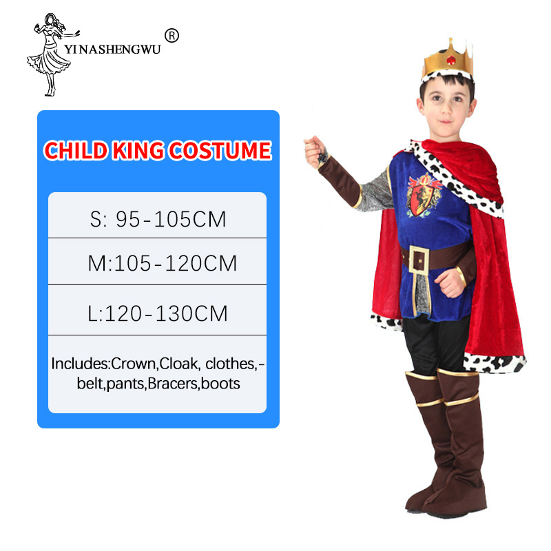 King Costume Halloween Cosplay Children Anime Kid Prince Costume For Children Christmas Boys Fantasia European Royalty Clothing
