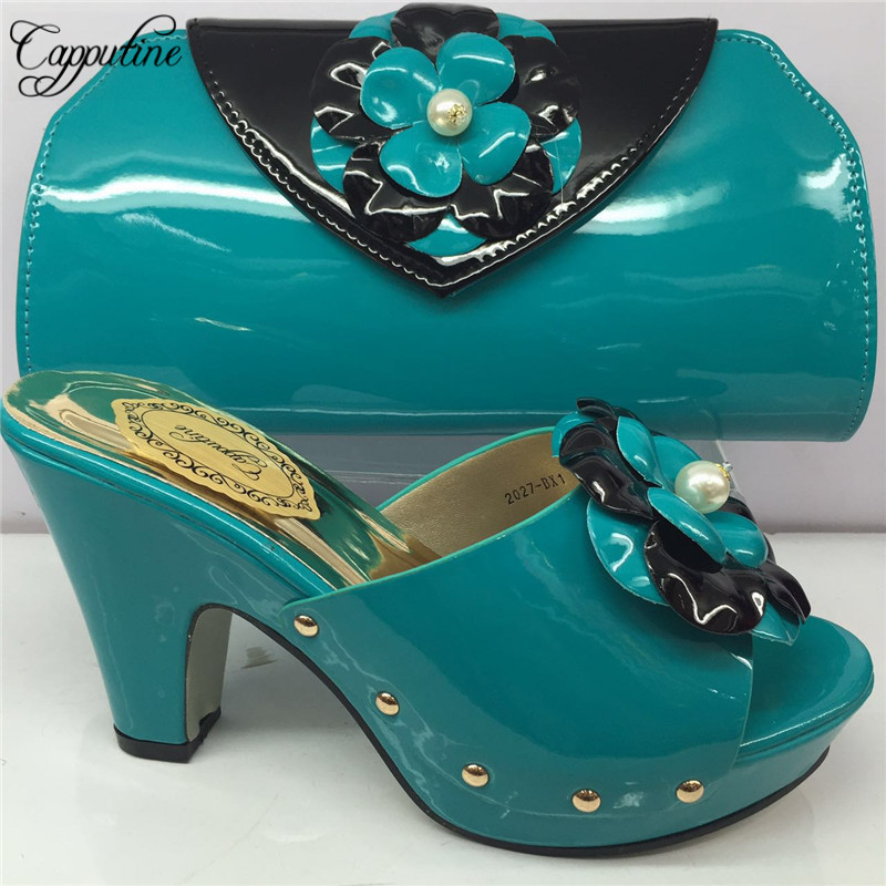 Capputine African Decorated With Appliques Shoes And Bag Set 2019 Summer PU High Heels Shoes And Purse Set For Party BL865C