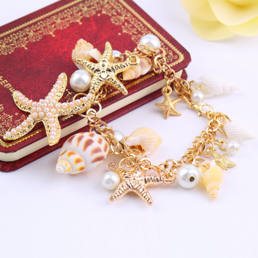 Women fashion Ocean Style Multi Starfish Sea Star Conch Shell Simulated-Pearl Chain Beach Bracelet Bangle Novelty
