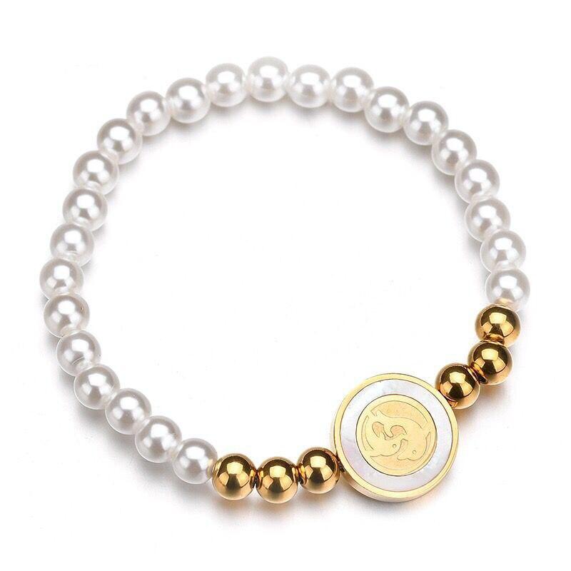 Wholesale Jewelry — 19-20cm 316L titanium steel Beads White Round Pearls Bracelets Jewelry For Women No Fade