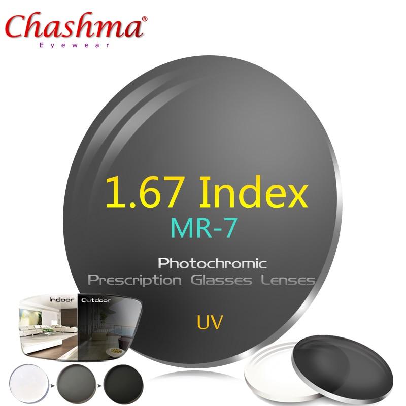 CHASHMA 1.67 indice lunettes de MR-7 lentilles photochromiques lentilles de lunettes de Prescription lunettes UV lunettes de soleil photochromiques lentilles